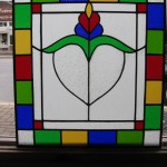 Custom leaded glass cabinet door