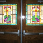 Main St Baptist custom leaded glass door